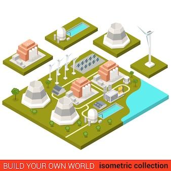 Piatto isometrico energia alternativa energia verde impianto di calore building block infografica concetto turbina eolica sole modulo batteria atom nucleare costruisci la tua collezione mondo infografica
