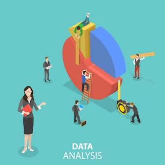 Concetto di vettore isometrico piatto di statistiche e analisi aziendali