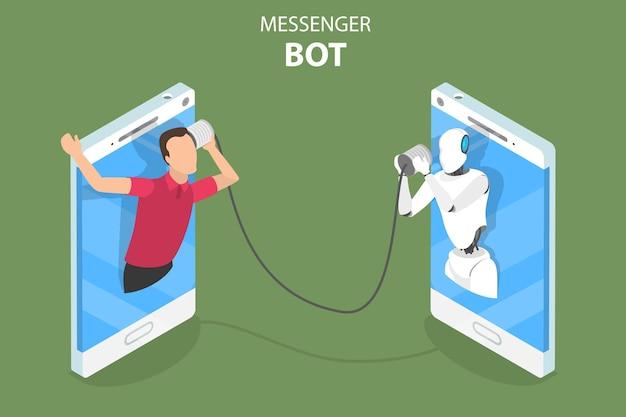 Concetto di vettore isometrico piatto di messenger bot ai