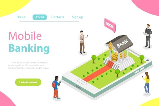 Concetto di vettore isometrico piatto di servizi bancari online, pagamento mobile, trasferimento di denaro.
