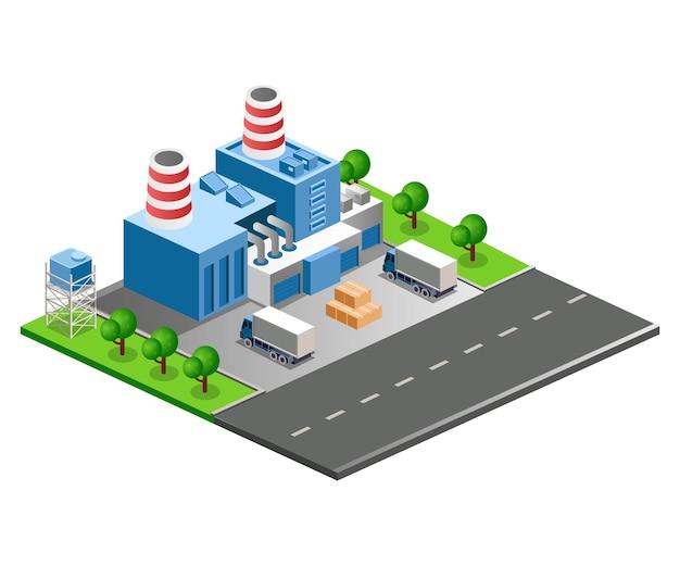 Illustrazione vettoriale isometrica piatta, costruzione di fabbrica sulla strada della città
