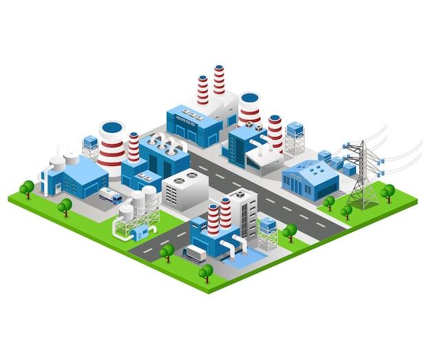 Illustrazione vettoriale isometrica piatta, generazione di energia ortogonale e vista industriale di fabbrica