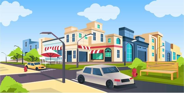 Illustrazione vettoriale isometrica piatta, strada e auto, strada cittadina con paesaggio panchina del parco