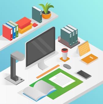 Piatto isometrico area di lavoro posto di lavoro concetto vettoriale isolato. computer desktop. Vettore Premium