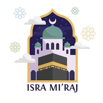 Illustrazione piana di isra miraj