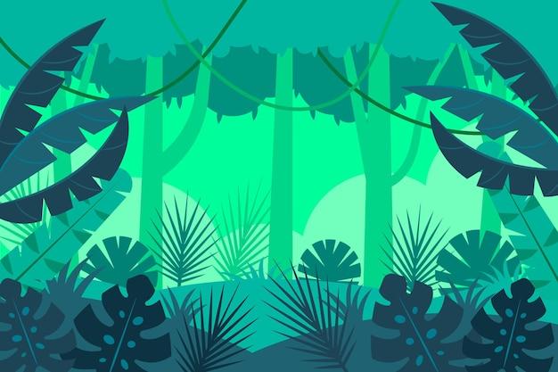 Sfondo giungla piatta con liane e grandi foglie esotiche