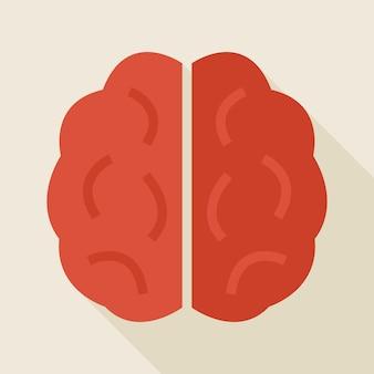 Illustrazione piana del cervello umano di conoscenza con ombra lunga. torna a scuola e istruzione illustrazione vettoriale. stile piatto brainstorm colorato con una lunga ombra. idea intelligente e di successo