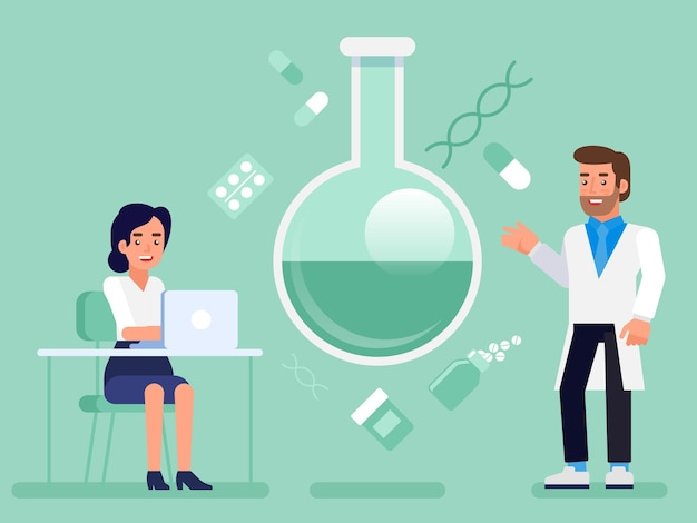 Piatto laboratorio di ricerca scienza laboratorio scienziato medico infermiere concetto illustrazione infografica web. concettuale professionale di medicina sanitaria.