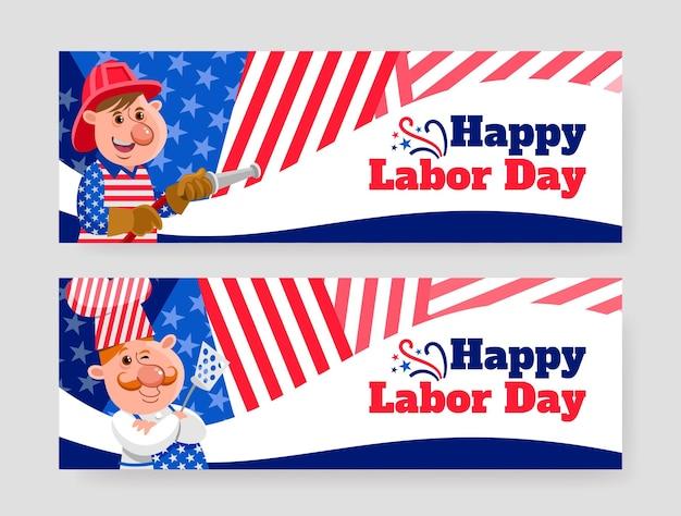 Set di banner orizzontali piatti per la festa del lavoro