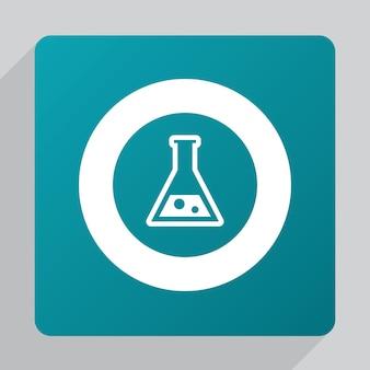 Icona piatta del laboratorio, bianca su sfondo verde