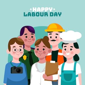 Illustrazione di festa del lavoro piatto