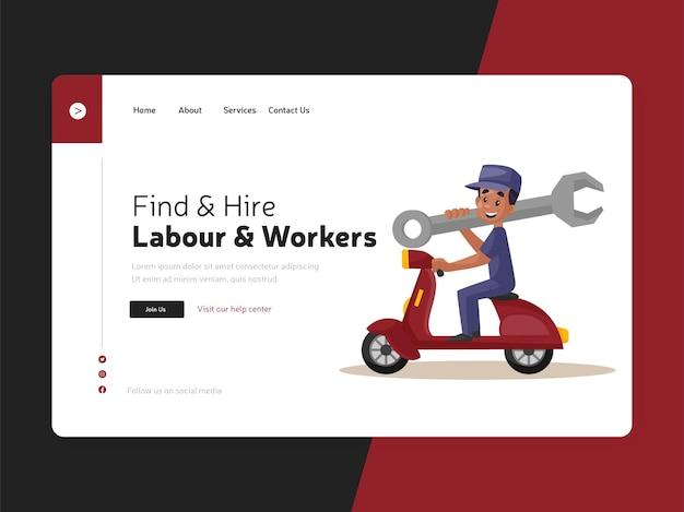 Pagina di destinazione del lavoro e dei lavoratori piatti