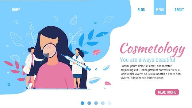 Pagina di destinazione piatta per il salone di bellezza di cosmetologia