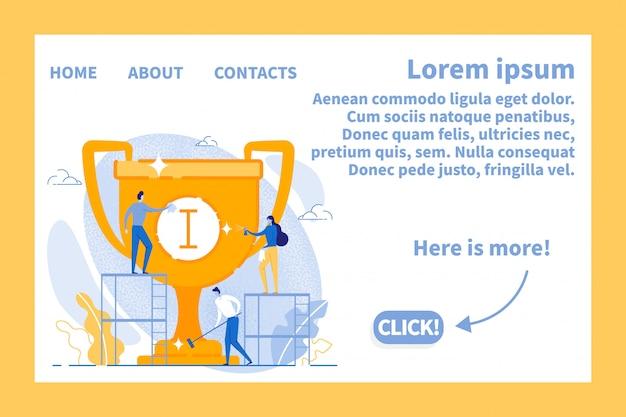 Pagina di destinazione piatta in cornice con business team success design