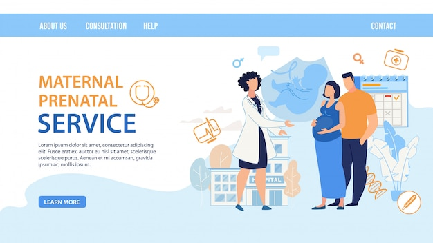 Pagina di destinazione piatta per il servizio prenatale materno