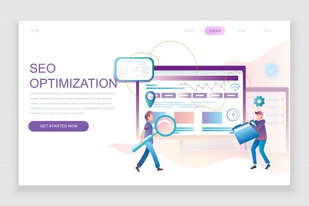 Modello di pagina di destinazione piatta di seo analysis