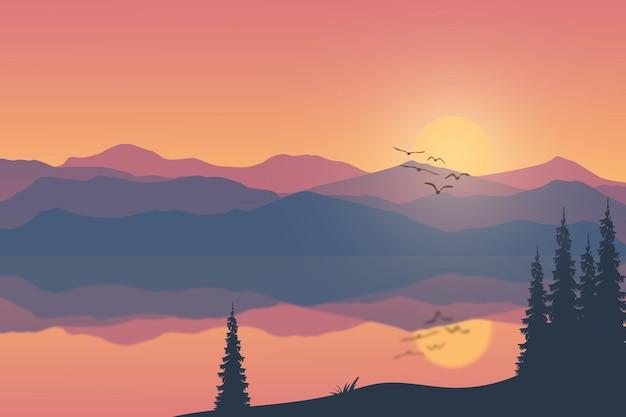 Paesaggio piatto bellissime montagne sul lago nei pomeriggi soleggiati