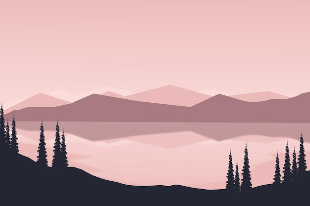 Paesaggio piatto bellissimo lago di montagna naturale al mattino