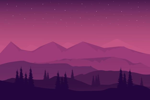 Paesaggio piatto belle montagne naturali nel cielo notturno