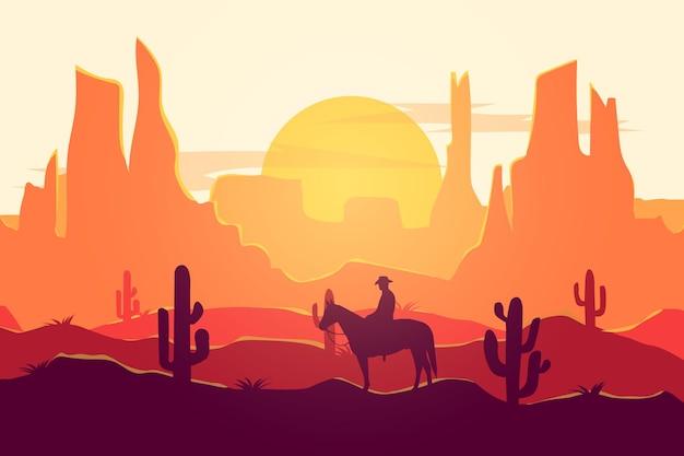Paesaggio piatto cowboy deserto natura bella atmosfera durante il giorno