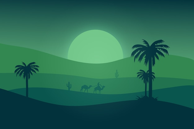 Il paesaggio piatto il deserto è verde in una bella notte