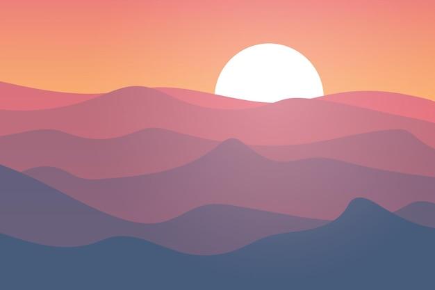 Paesaggio piatto le montagne dell'everest sono viola e blu nel pomeriggio
