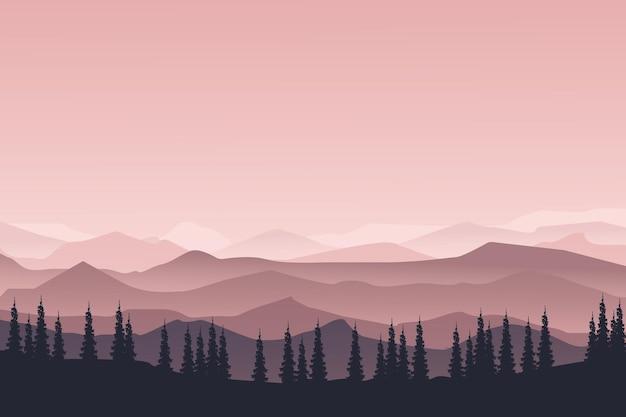 Il paesaggio piatto della foresta in montagna era bellissimo in una mattina limpida