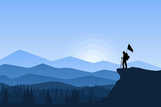 Alpinisti di paesaggio piatto che portano la bandiera di una bellissima atmosfera