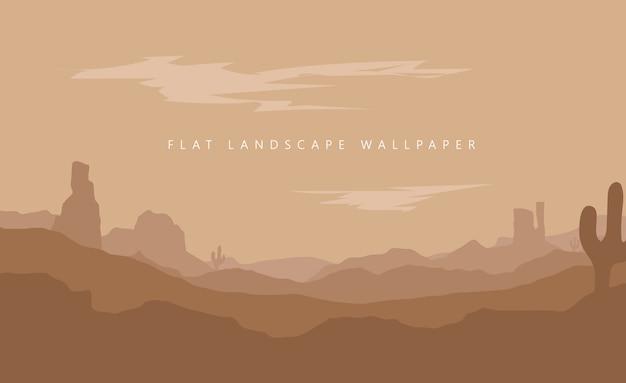 Illustrazione piana della carta da parati del deserto della montagna del paesaggio