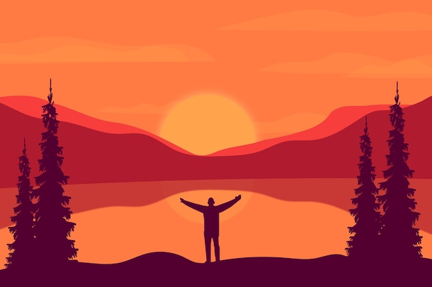 Montagne pianeggianti ci sono bellissimi laghi nei pomeriggi soleggiati