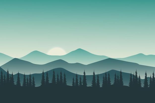 Montagne verdi della natura del paesaggio piatto in serata serena