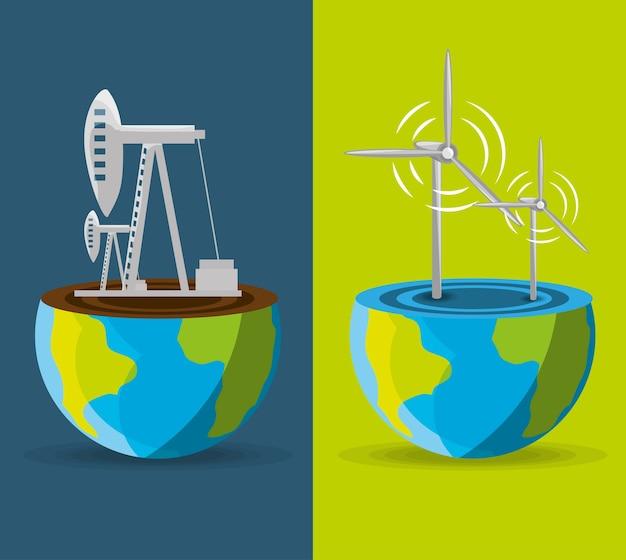 Paesaggio piatto relegato con energia eolica e energia fossile sul pianeta