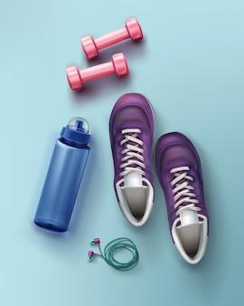 Illustrazione piatta laici di scarpe da ginnastica manubri bottiglia d'acqua