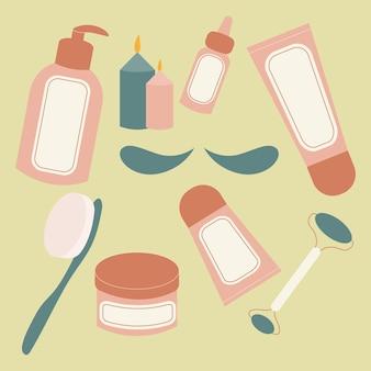 Disposizione piatta di elementi essenziali per la spa e accessori da bagno