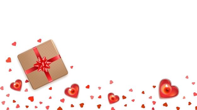 Fondo piatto di san valentino con cuori rossi.