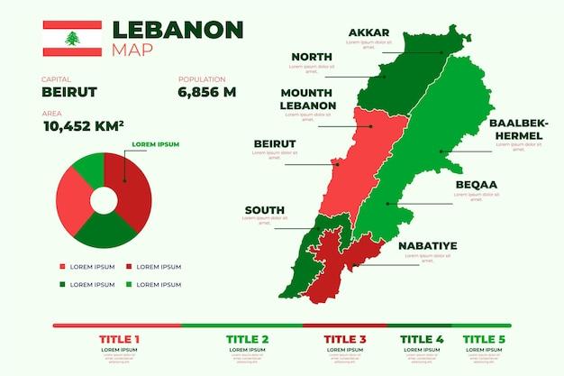 Mappa piatta del libano illustrata
