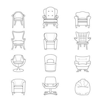 Set di icone di poltrona linea piatta Vettore Premium