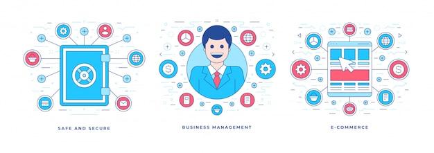 Banner linea piatta e opportunità di business