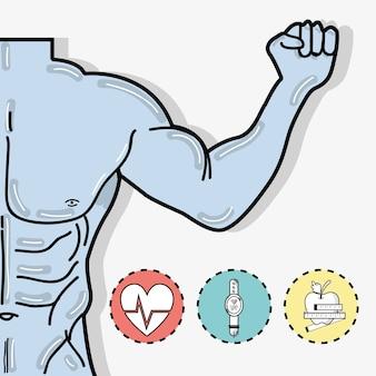 Forma piatta concetto fitness corpo tonica