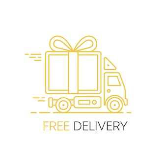 Illustrazione a linea piatta con nave di consegna aereo e auto per il web design servizio di consegna cibo