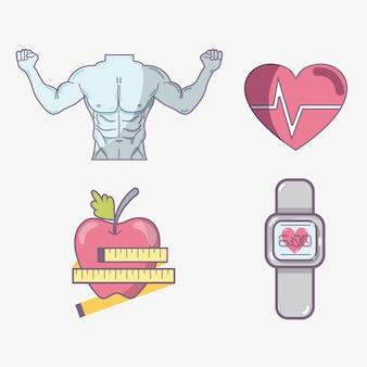 Linea piatta imposta fitness icona