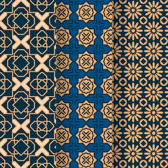 Collezione di modelli arabi lineari piatti