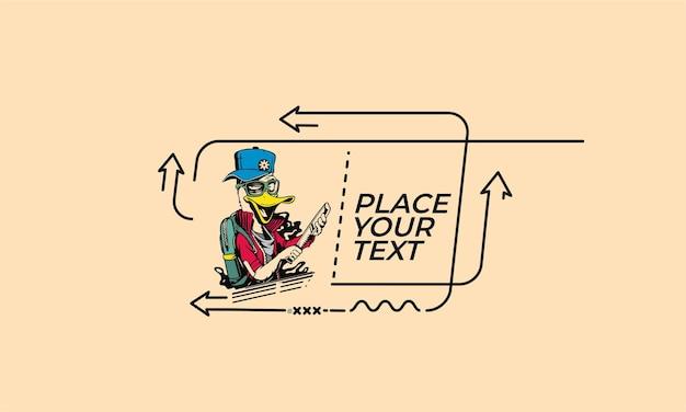 Piatto lineare anatra ladro cartone animato tenendo coltello banner adesivo rotolo distintivo cartellino del prezzo poster