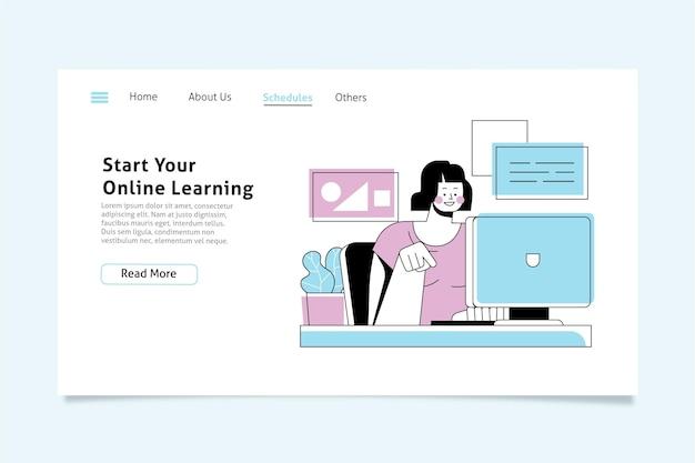 Modello di pagina di destinazione dell'apprendimento online lineare piatto