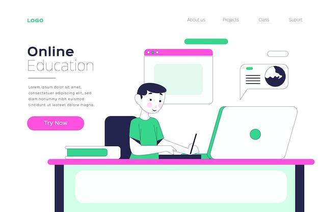 Pagina di destinazione dell'apprendimento online lineare piatta