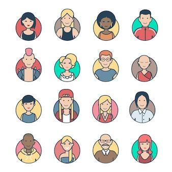 Piatto lineare persone personaggi profilo avatar casual e hipster elegante maschio femmina volti icona