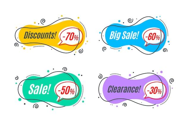 Set di modelli di forma banner promozione lineare piatta.
