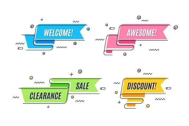 Banner a nastro promozione lineare piatta, scorrimento, cartellino del prezzo