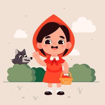 Illustrazione di cappuccetto rosso piatto