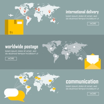 Concetto di logistica piatta dei tipi di spedizione e consegna.
